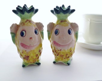 Vintage Salt And Pepper Shakers Anthropomorphic Pineapple Made In Japan