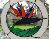 Stained Glass Bird of Paradise Flower, Ooops, Window Hanging Art, Strelitzia, Colorful Nature, Garden Delight