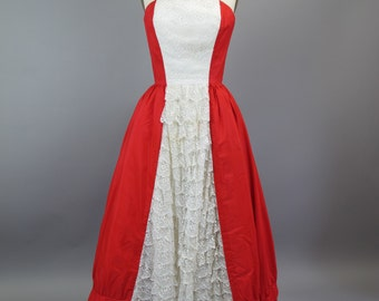 1970s Mike Benet Red and White Strapless Evening Dress
