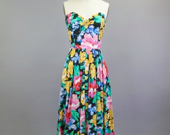 1980s Cotton Floral Strapless Dress