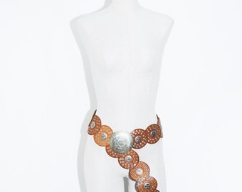Vintage Moroccan Leather and Metal Blet , Oversize BOHO Belt