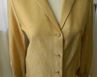 Vintage Gold Ladies Blouse Size Medium