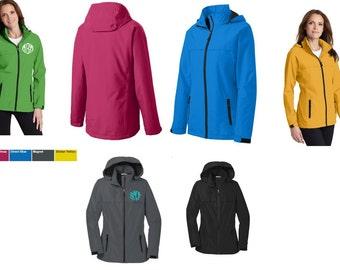 Rain Jacket Personalized Monogram Ladies Jacket Coat Black green yellow grey charcoal pink blue waterproof hooded