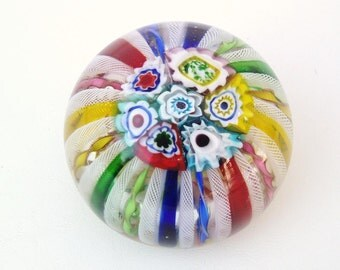 Vintage Venetian Glass Paper Weight / Millefiori Murano Paperweight / Primary Rainbow Colors