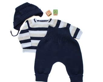 Knitted baby set. Striped sweater, pants and cap. Blues and gray. 100% merino wool. READY TO SHIP size newborn.