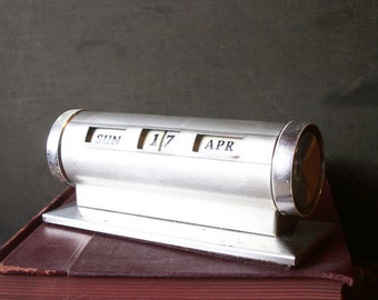 Vintage Silver Perpetual Desk Calendar - Great Father's Day Gift!