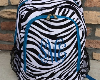 Black & White Zebra with Blue Personalized Backpack