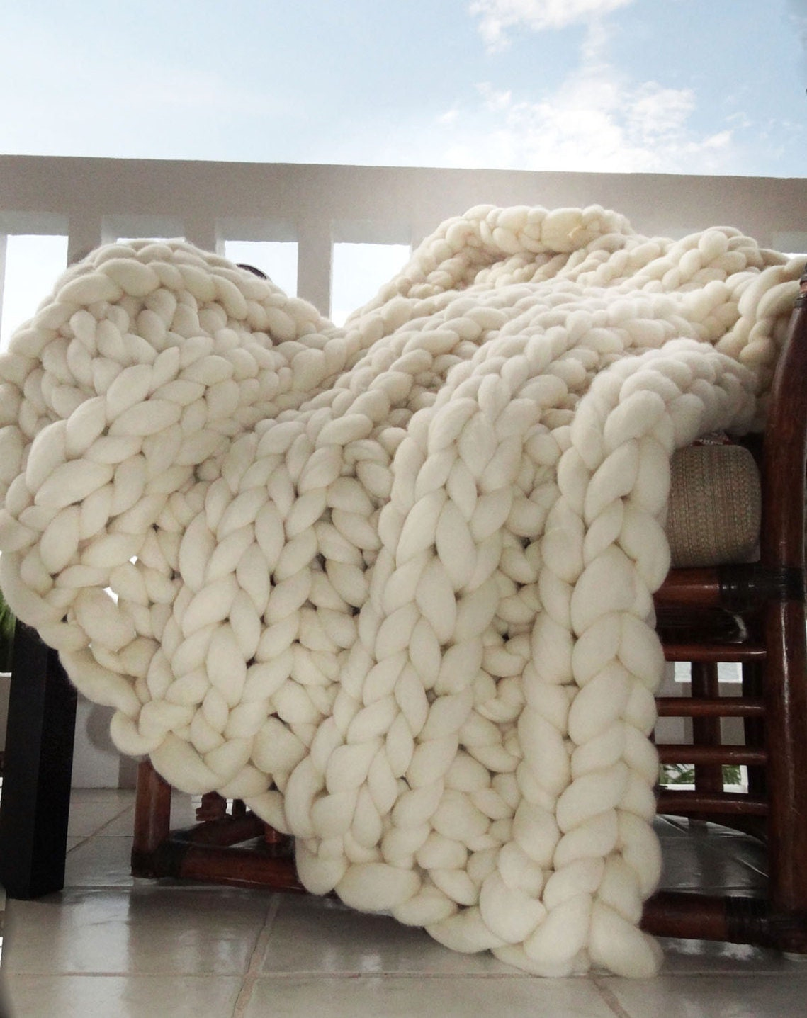 Large Knitting Blankets : Super chunky blanket knit throw giant