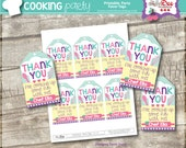 Chef Party - Cooking Party - Favor Tags - Party Favor Labels - Birthday Party Favors - Thank You Tags