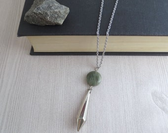 Geomatics SQ - Silver Geometric Necklace with Smoky Green Seaweed Quartz Gemstone and Diamond-Shape Pendant on Long Chain by InfinEight