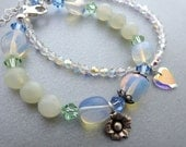 2 Layering bracelets, gemstone and crystal, heart flower charms, Opalite, Serpentine, Aurora Borealis, Sterling Silver, Valentine jewelry