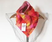 Colourful plaid checked cowl made from recycled wool--winter fashion--women's cowl