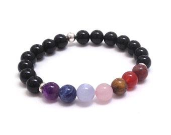 7 Chakra Bracelet Mala Beads, Worry Beads, Mala Bracelet, Inspiring Grad Gift for Spiritual Friend Amethyst Rose Quartz Carnelian Blue Lace