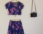 Blue and Pink Floral Twin Set Skirt and Crop made from Vintage 70s Fabric Summer Festival Party Lolita Matching Set