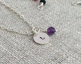 Customized Hand Stamped Birthstone Necklace, Sterling Sterling Chain