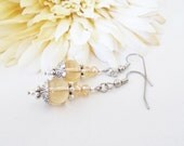 Champagne Earrings Bridesmaids Gift Sister, Spring Wedding Jewelry Sterling Silver Earrings Clip On Dangle, Mother of the Bride Gift for Her