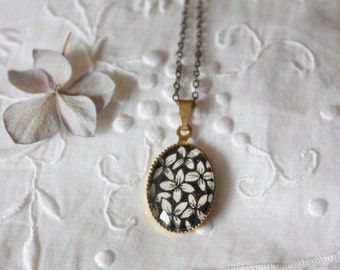 Black Flowers - original drawing brass necklace