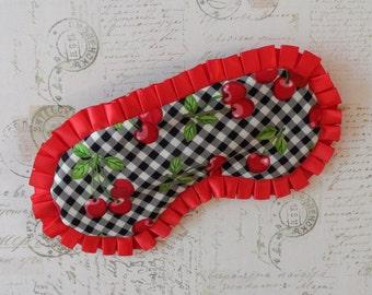 Cherry Rockabilly Sleep Mask // Black, Red, White, Satin Eye Mask
