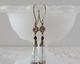 Art Deco Crystal Earrings // Rhinestones, Brass