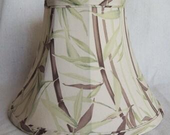 Silk Lamp Shade, Bamboo Pattern Lamp Shade, Brown and Green Silk Lamp Shade, Hand Made Silk Lamp Shade, 6x12x8.5 High, Bell Shape Shade