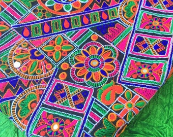 "Bright on Black Silk Floral Embroidered Fabric from Rajasthan, India Textile, Fabric, Wall Hanging, Boho Decor, Sewing Supply, 42"" x 1 yard"