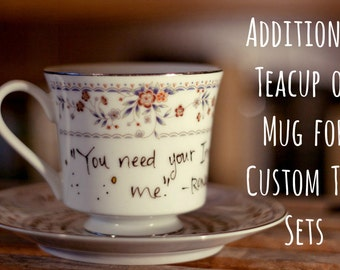 Additional Teacup or Mug for Custom Tea Sets - Made to Order- Supplemental Pieces, you choose the number - Hand Painted, Literary or Geeky