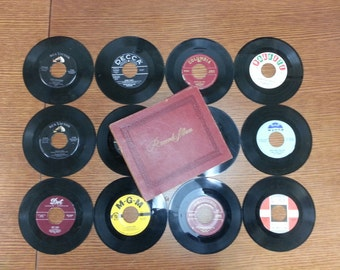 VINTAGE 1950s Decca Record Book & Twelve Vinyl 45s Album Storage Collection Columbia Dot RCA Victor MGM Laurie Wynne Palette Gift