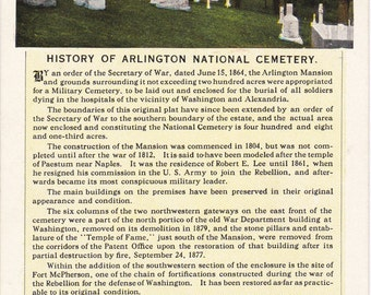 History of Arlington National Cemetery- 1920s Antique Postcard- Arlington, Virginia- Graveyard- Souvenir- B S Reynolds- Paper Ephemera