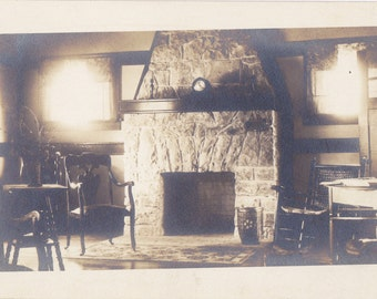 Cozy Hearthside- 1920s Antique Photograph- Flagstone Fireplace- Living Room- Home Interior- Real Photo Postcard- AZO RPPC- Paper Ephemera