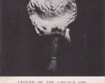 Legend of the Lincoln Imp- 1900s Antique Postcard- Lincoln Cathedral Grotesque- Stone Gargoyle- Lincolnshire, England- Paper Ephemera