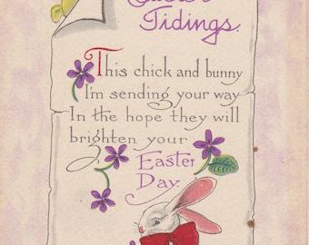 Easter Tidings- 1910s Antique Postcard- Easter Chick- Easter Bunny- Edwardian Easter Decor- S Bergman- White Rabbit- Paper Ephemera