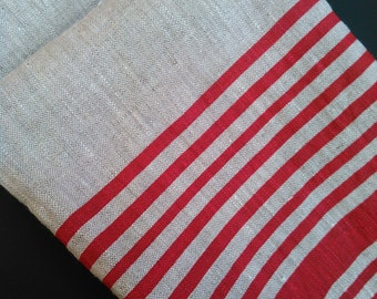 Linen Tea Towel, Dish Cloth, Red Stripes, Dish Towel