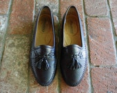 Vintage Mens 9.5 Santoni Italian Slip On Black Soft Leather Tassel Loafers Loafer Woven Braided Moccasins Moto Preppy Hipster Wedding Shoes