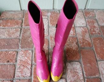 Rare Vintage Womens 6 EU 36 Ursula Mascaro Menorca Boots Boot Tall Side Zip Fashion Daria Gogo Goth Anime Pink Yellow 90s Moxies Unif Spain