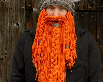 Viking Hat with Beard Teen or Adult Size  --  Custom Made to Order Crochet Bearded Hat