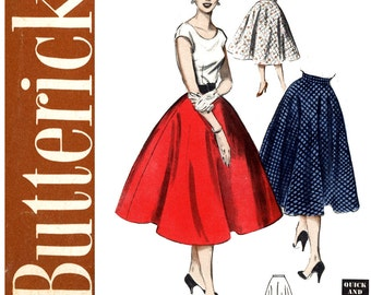 1950s Poodle Skirt Pattern Uncut Waist 24 Butterick 6167 Full Circle Skirt Rockabilly Skirt Easy to Sew Womens Vintage Sewing Patterns