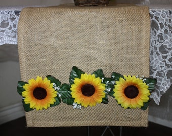 """Home decor-Table runner-Wedding table runner-Cottage-Rustic table Runner Natural Burlap 13X72"""" Decorated sunflowers silk flowers buds&leaves"""