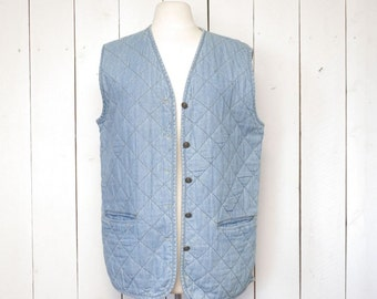 Quilted Denim Vest Express 1980s Vintage Light Wash Jean Button Up Waistcoat Medium Large