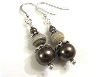 Brown Swarovski Pearl Earrings, Brown Pearl Earrings, Brown Earrings