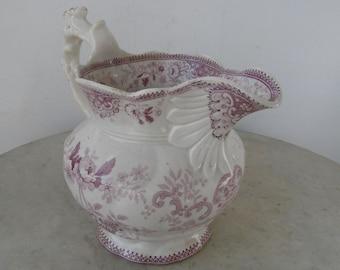 ENGLISH STAFFORDSHIRE CANOVA Pitcher Bulbous Milk Jug Deep Pink Flowers Swirls Geometric Design Fluted Spout Thomas Mayer Longport 1826-1835