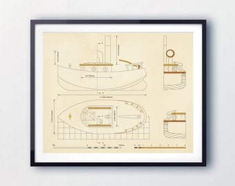 Boat print, Maritime nursery. Boat blueprints. Nursery wall art. Boat themed decor. Maritime decor. Prints for toddlers.