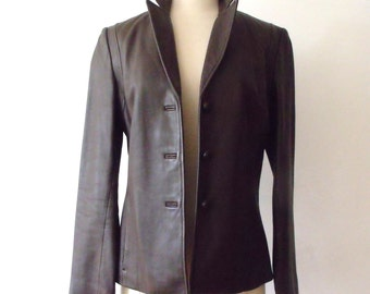 90's Brown Leather Women's KENNETH COLE Jacket Blazer ~ Size S