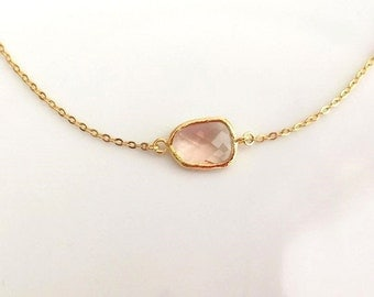 Champagne Necklace in Gold. Peach Necklace. Blush Pink Necklace.Bridesmaid Necklace.Wedding Necklace.Bridal Jewelry.Bridesmaid Gift.Delicate