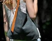 LEATHER HOBO bag tote handbag crossbody shoulder - CURVE model in grey leather
