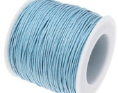 Waxed Cotton Cord : 10 yards | 30 feet Powder Blue 1.5mm Waxed Cord String / Bracelet Cord / Macrame Cord   100/1.5