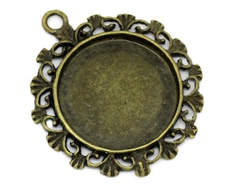 Cabochon Setting / Bezel : 10 Antique Bronze 20mm Round Cabochon Settings ... 34mm x 30mm -- Lead, Nickel & Cadmium Free H3J