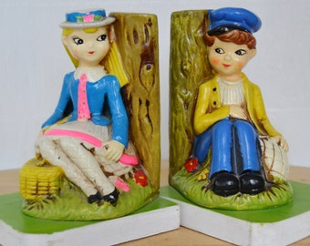Vintage Bookends of School Girl and Sailor in Neon Colors