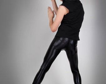 Men's Black Snake Print Leggings w. Jeans Back, Spandex Pants, Meggings, Glam Rock Stage Outfit, Heavy Metal Clothing, by LENA QUIST
