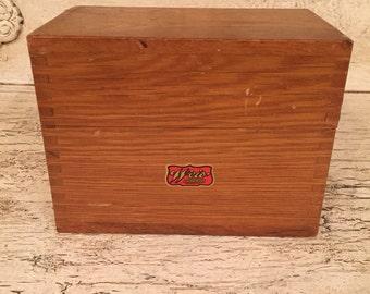 Rustic Recipe box - Small Hinged Wooden Box - Vintage Index Card Box