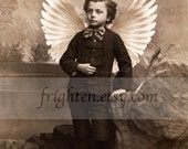 Angel Art, Mixed Media Collage, Sepia Art Print, Collage Art, Victorian Boy, Surreal Art, Boy with Wings, Angelic Art